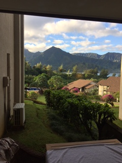 The view of Hanalei Bay from our crappy 2nd resort.